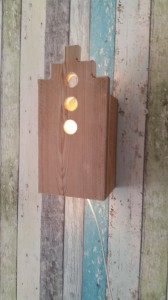 Wandlamp steigerhout huisje
