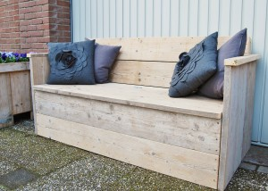 Tuinbank XL gebruikt steigerhout klepbank