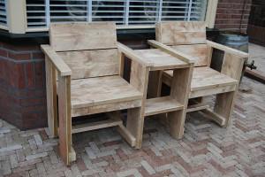 Duostoel gebruikt steigerhout