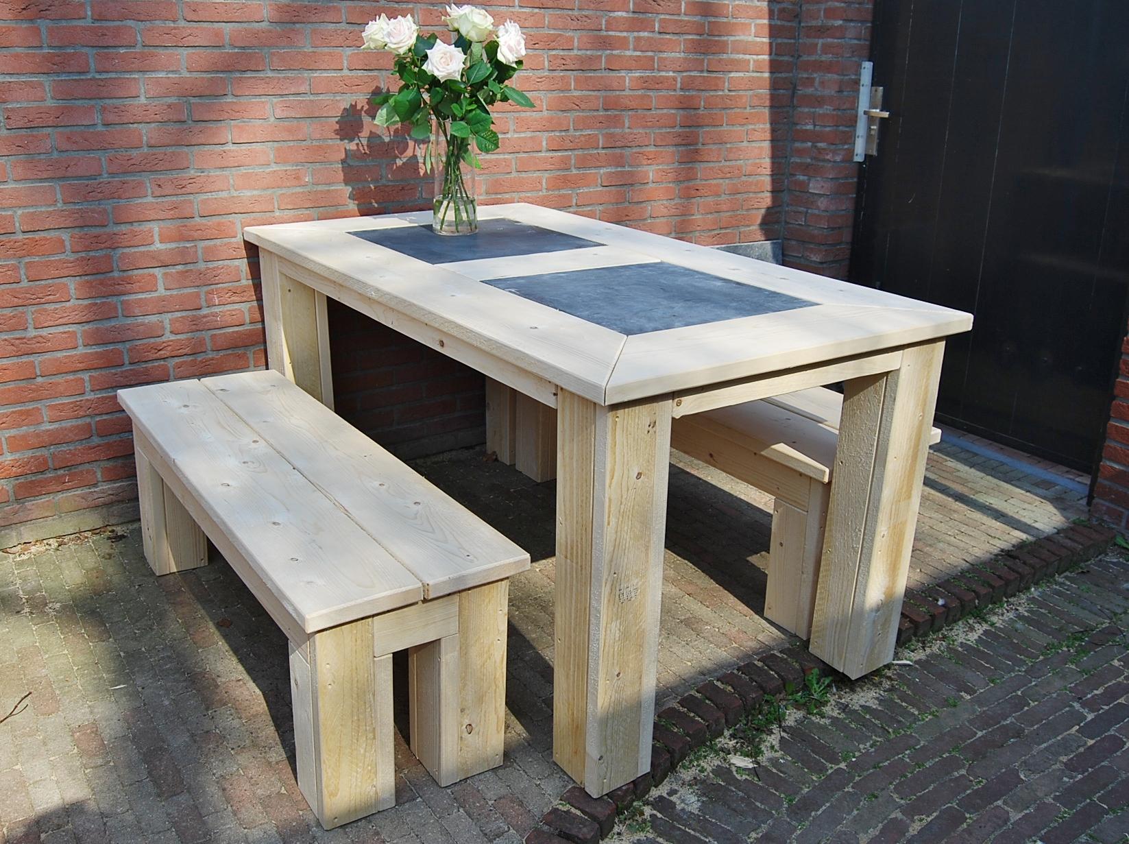 Eettafels tuintafels steigerhout bouw en for Bankje steigerhout zelf maken