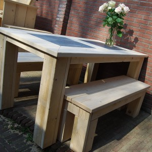 Tafel blokpoot steigerhout