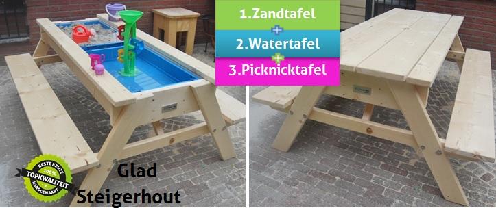 Picknicktafels met zand- en watertafel - Bouw- en ...
