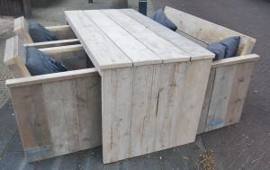 Tafel u-vorm dichte zijkanten gebruikt steigerhout