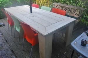 Tafel nieuw steigerhout, tafelblad in verstek