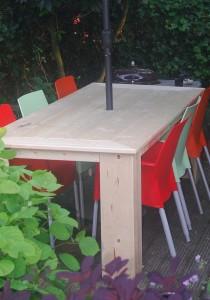 Tafel poot en tafelblad verstek steigerhout