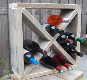 Wijnrek gebruikt steigerhout kruis